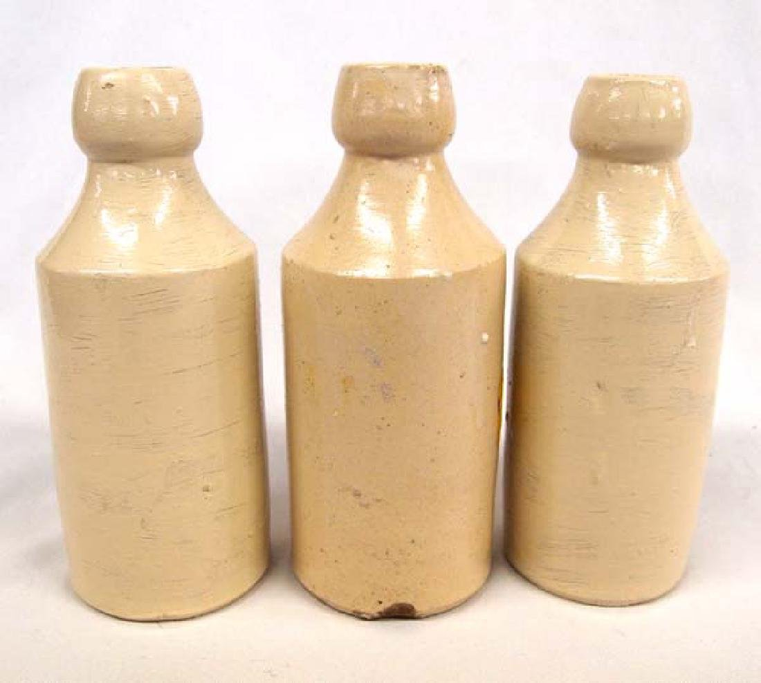 3 Antique Ginger Beer Stoneware Bottles