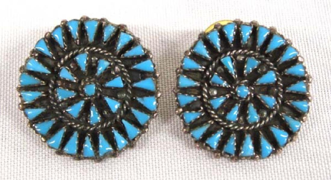 Native American Zuni Silver Turquoise Earrings