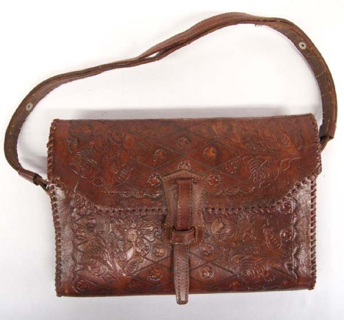 Hand Tooled Leather Purse, Flower and Leaf Motif