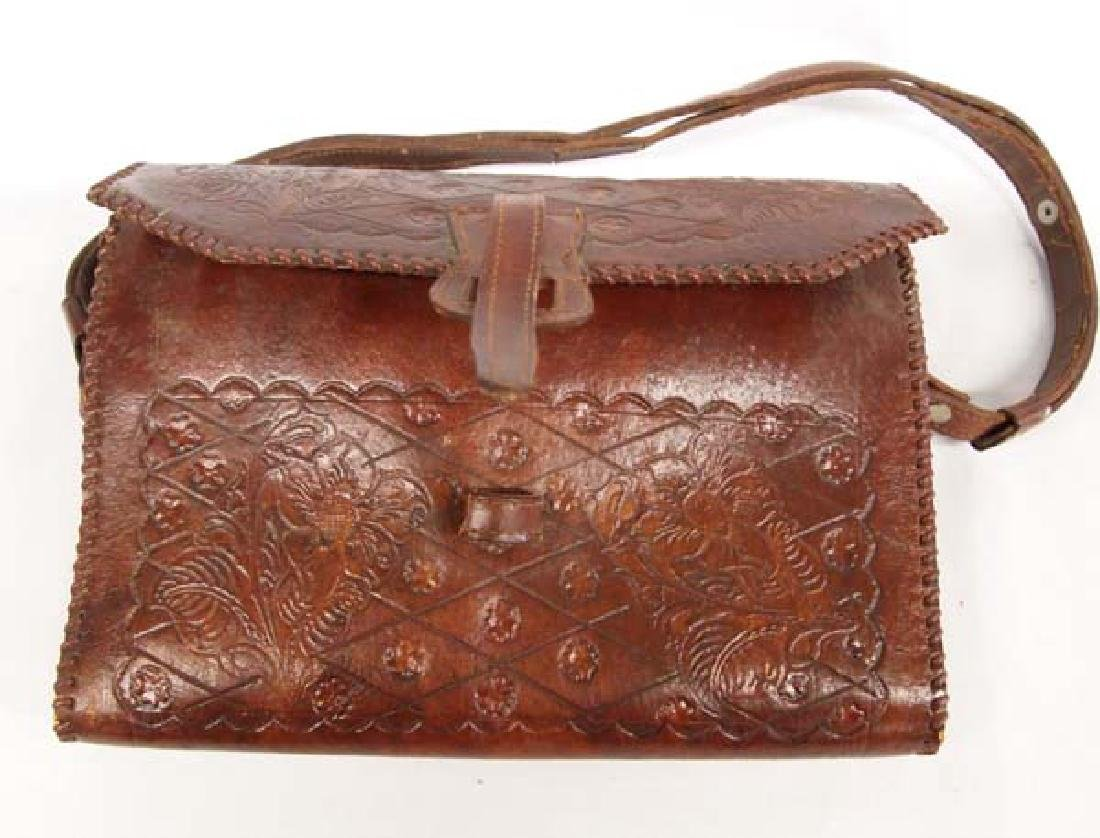 Hand Tooled Leather Purse, Flower and Leaf Motif - 2