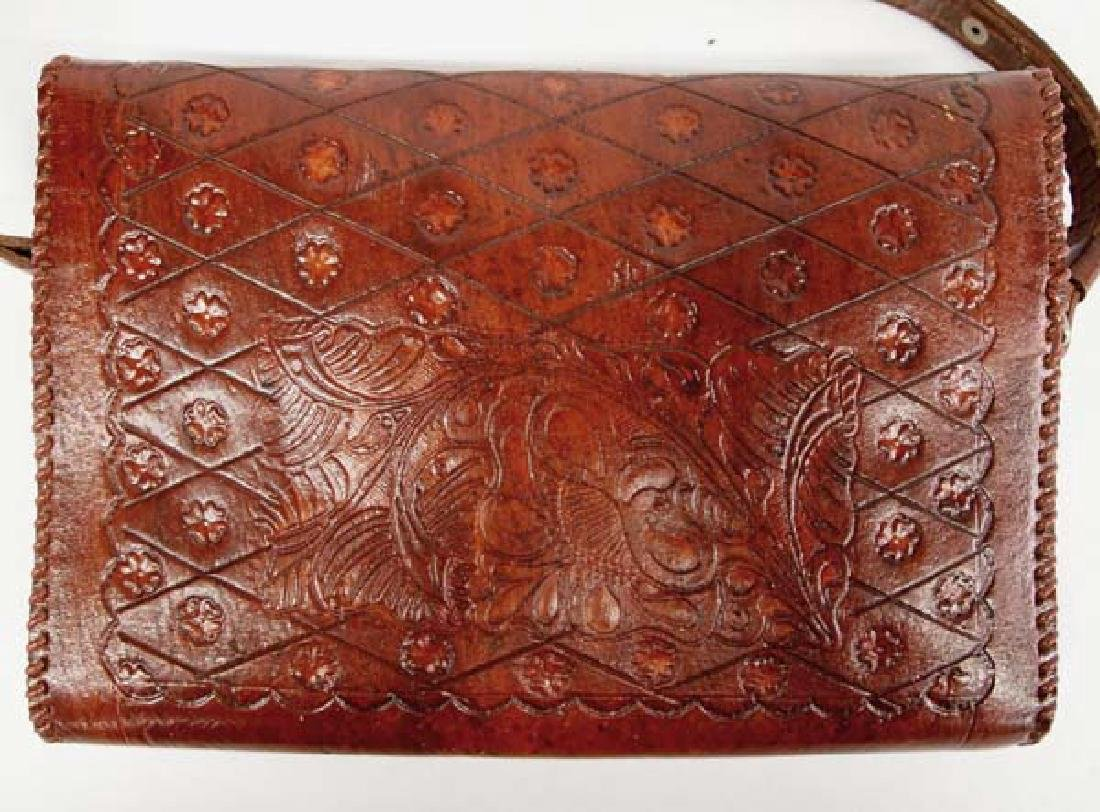 Hand Tooled Leather Purse, Flower and Leaf Motif - 3