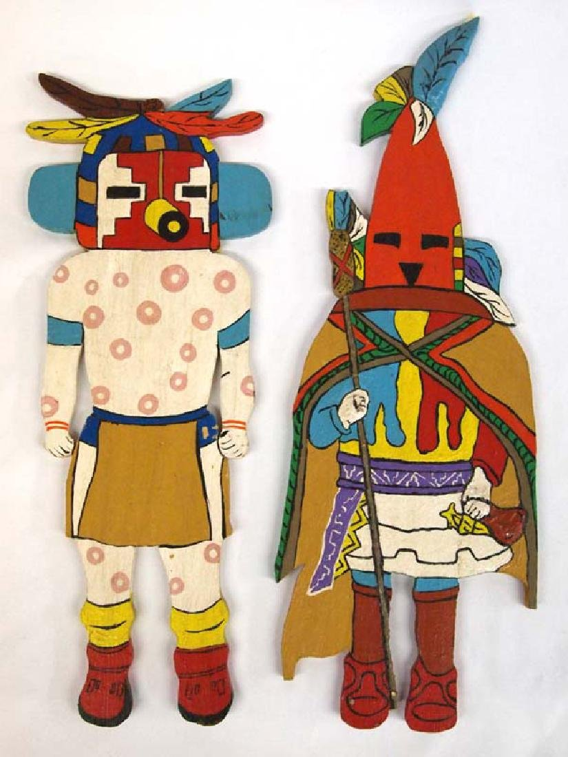 Two 1973 Wood Cut Hand Painted Kachinas, Angie