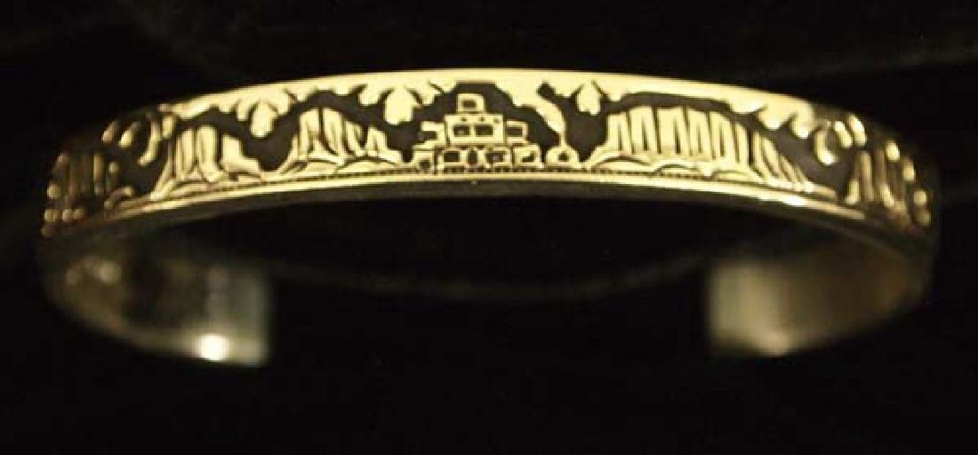 Navajo 14K Gold on Silver Storyteller Bracelet