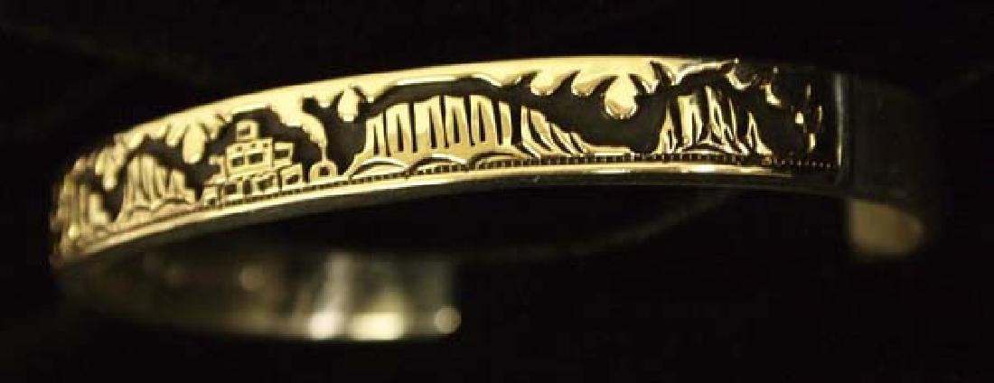 Navajo 14K Gold on Silver Storyteller Bracelet - 2