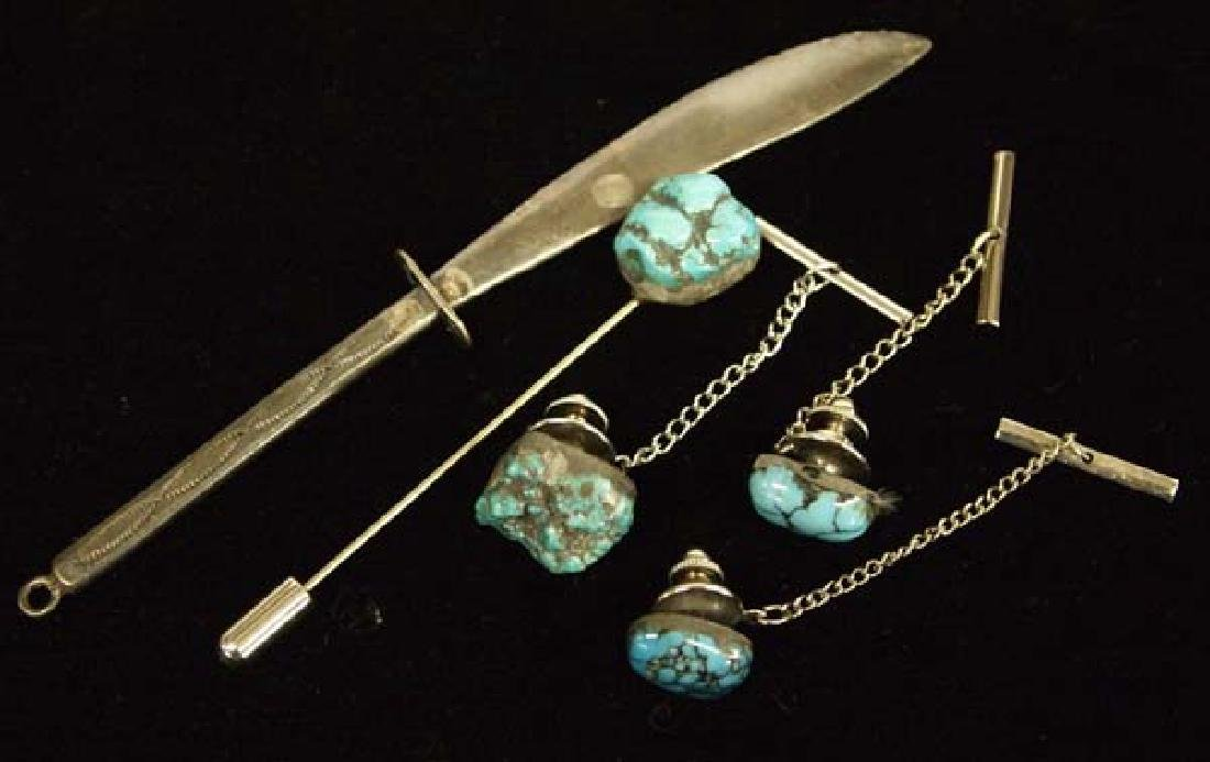 Navajo Sterling Silver Knife & Turquoise Tie Tacs