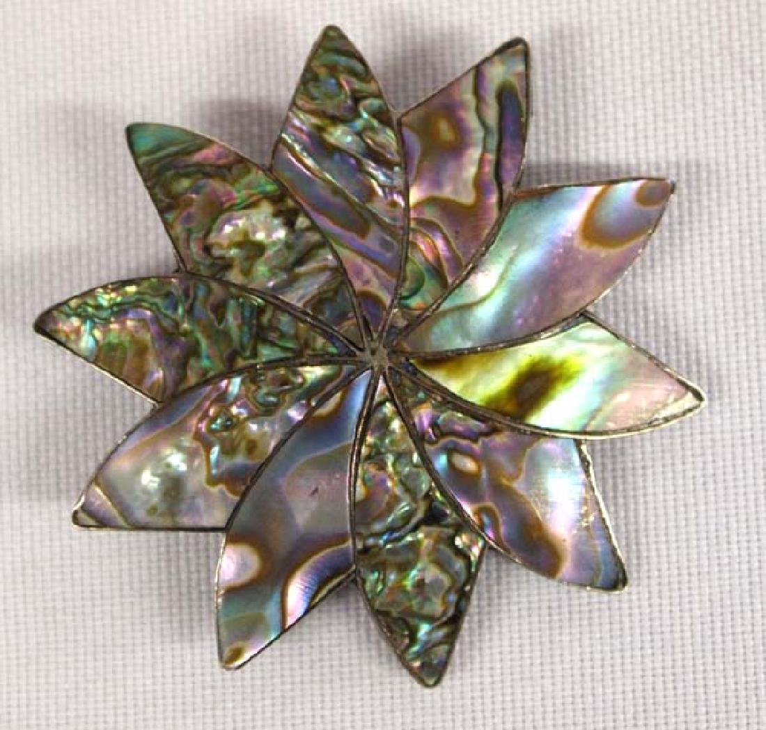Vintage Mexican Sterling Silver and Abalone Pin