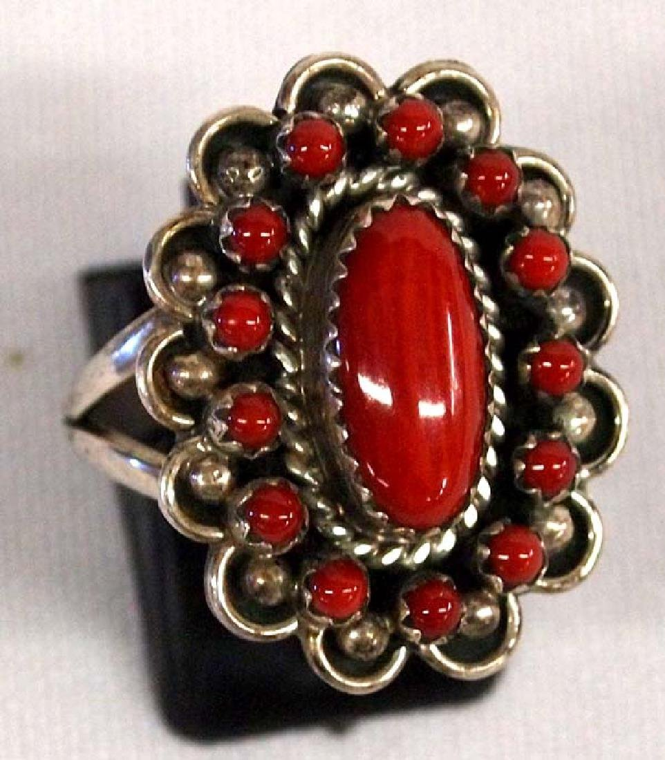 Navajo Sterling Coral Cluster Ring by L. Begay