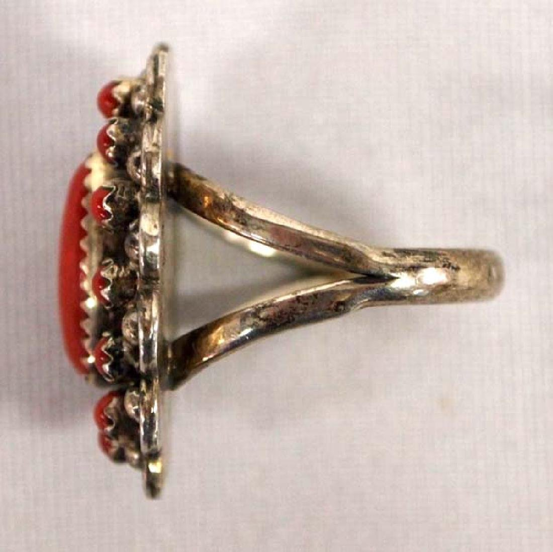 Navajo Sterling Coral Cluster Ring by L. Begay - 2