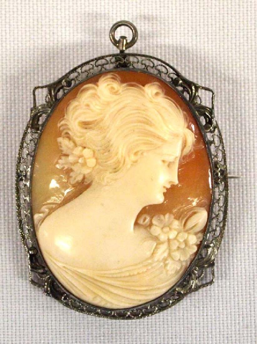 Antique Cameo Pin Pendant