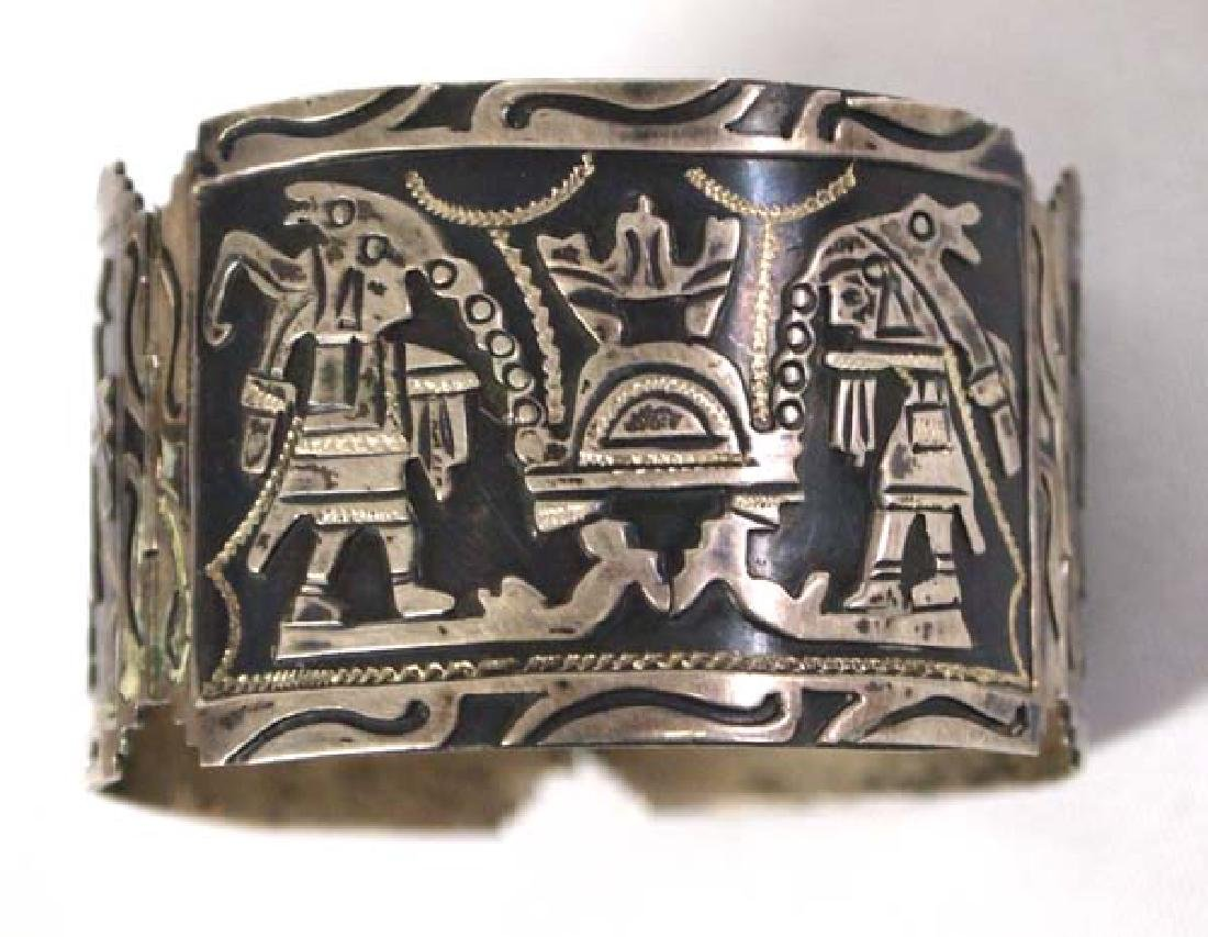Mexican Carved Sterling Silver Story Bracelet