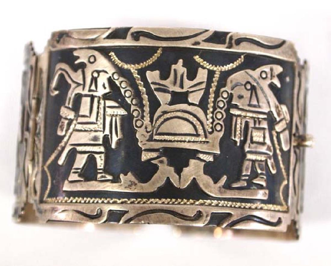 Mexican Carved Sterling Silver Story Bracelet - 2