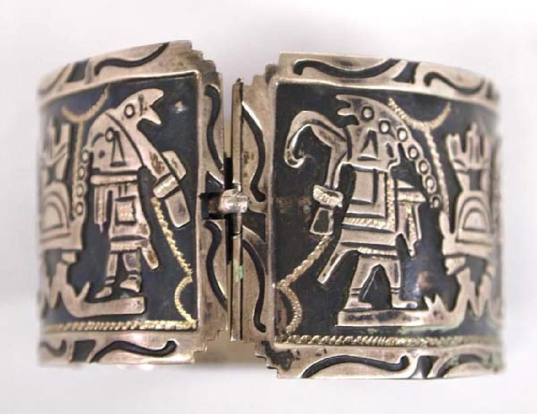 Mexican Carved Sterling Silver Story Bracelet - 3
