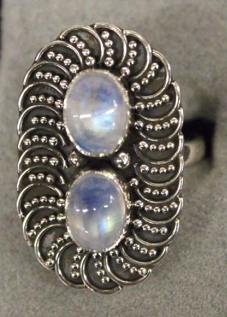 Sterling Silver and Moonstone Ring, Size 7