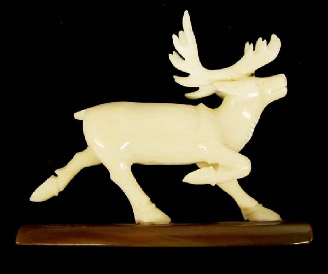 Native American Eskimo Carved Ivory Caribou