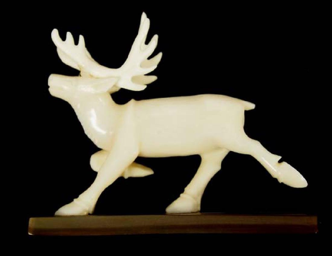 Native American Eskimo Carved Ivory Caribou - 2