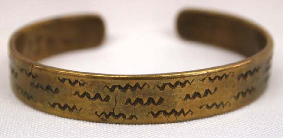 Vintage Navajo Stamped Brass Bracelet