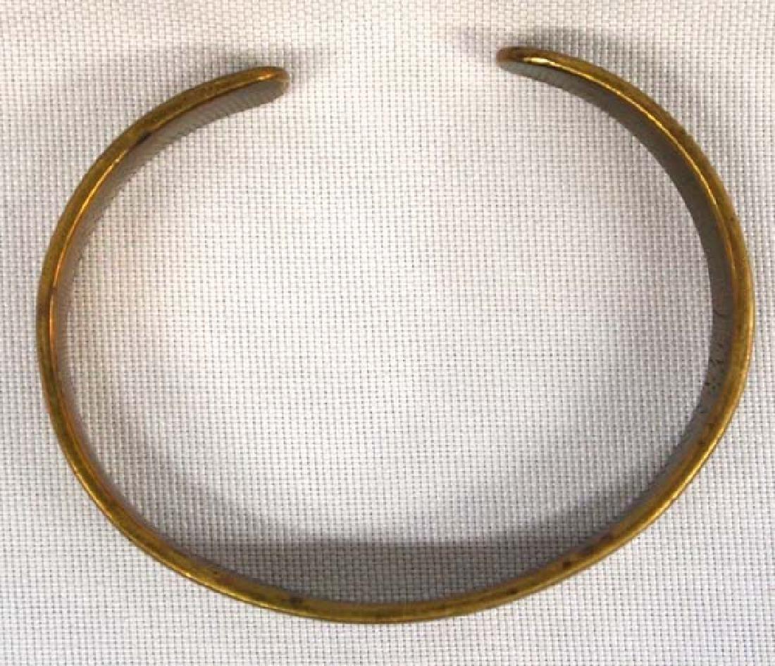 Vintage Navajo Stamped Brass Bracelet - 2