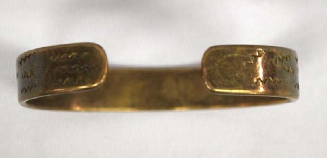 Vintage Navajo Stamped Brass Bracelet - 3