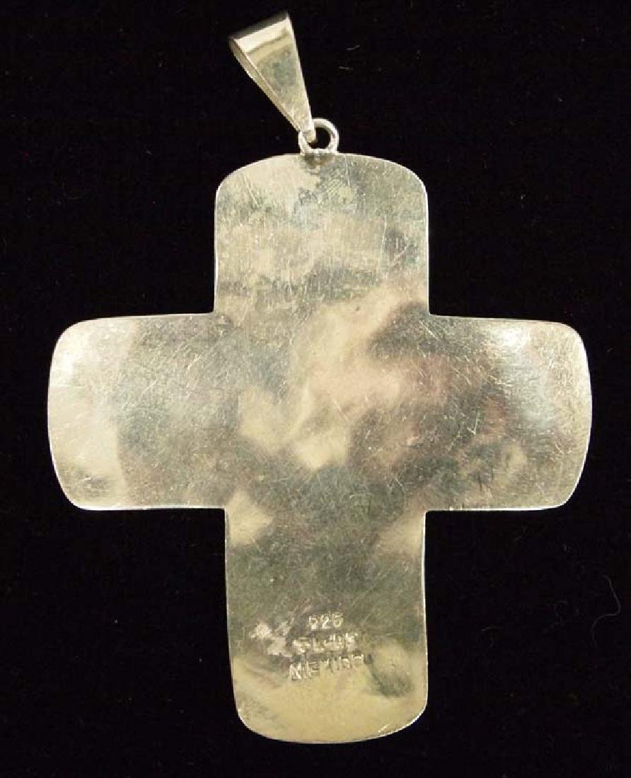 Mexican Taxco Sterling Silver Cross Pendant - 2