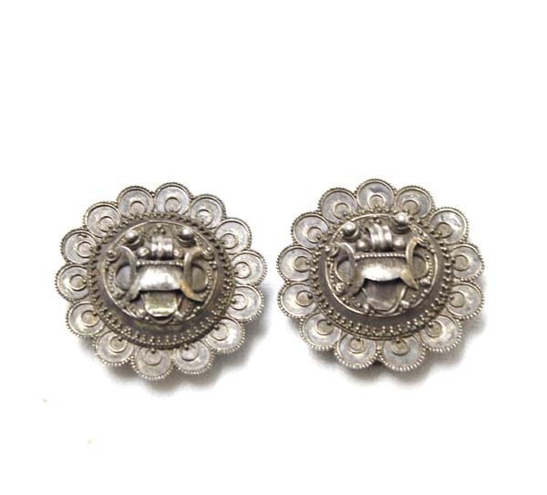 Pair of Antique Sterling Silver Shoe Clips