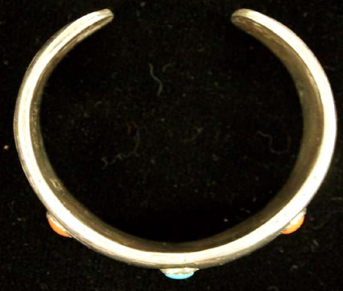 Vintage Navajo Sterling Turquoise Coral Bracelet - 4