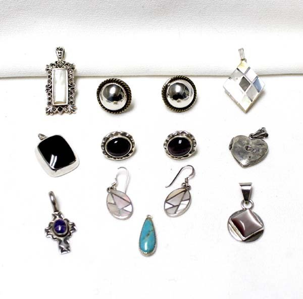Collection of Sterling Silver Pendants & Earrings