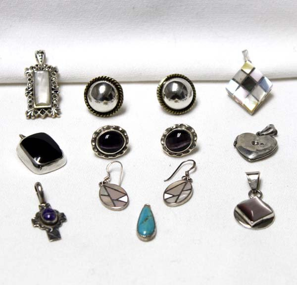 Collection of Sterling Silver Pendants & Earrings - 2