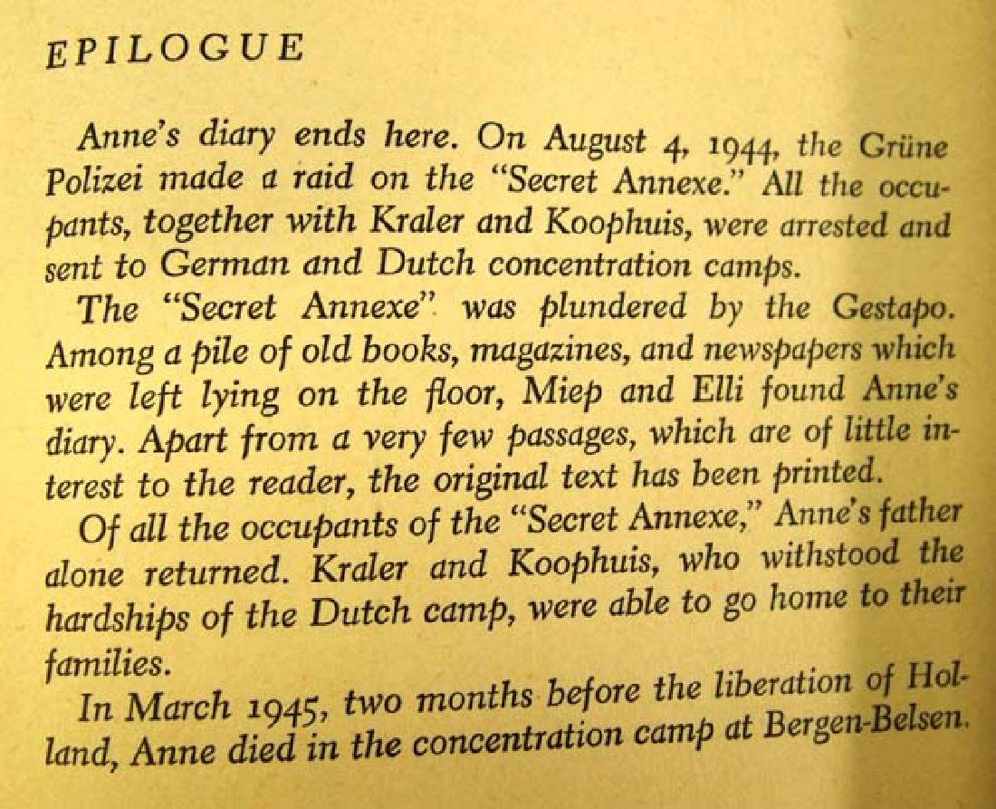 1952 1st Edition Ann Frank Diary of a Young Girl - 5