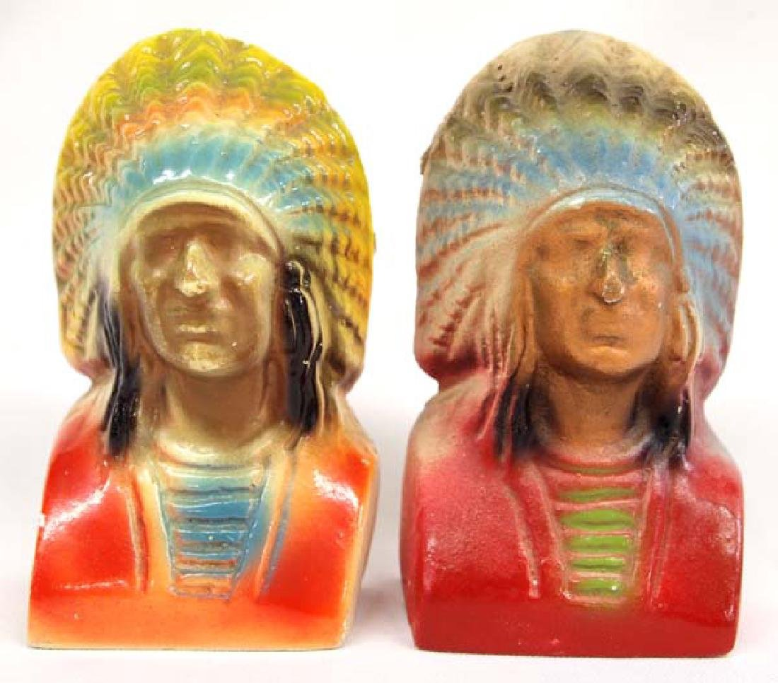Vintage 1940s Carnival Chalk Chief Bookends