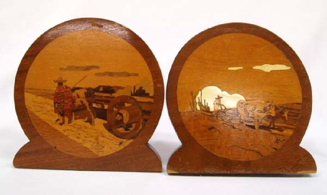 Vintage Mexican Marquetry Wood Bookends