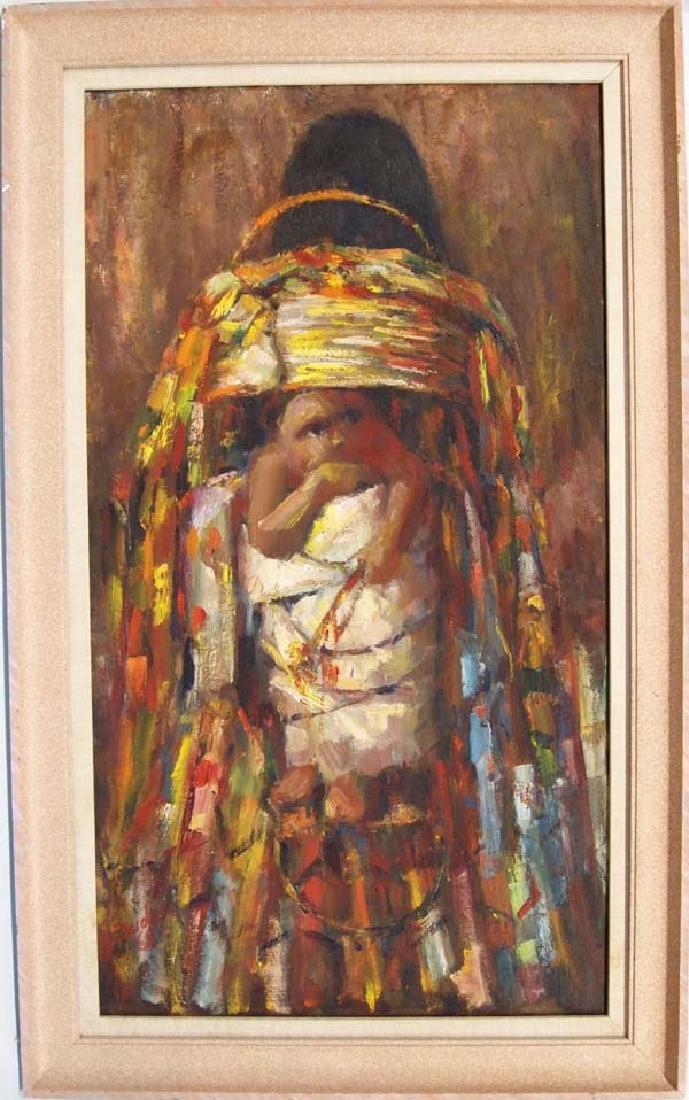 Original Oil of Apache Child in Cradleboard