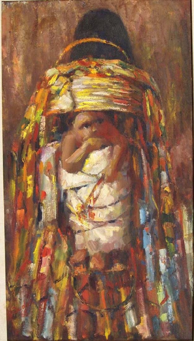 Original Oil of Apache Child in Cradleboard - 2