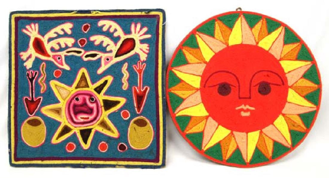 2 Mexican Huichol Yarn Art Pictures