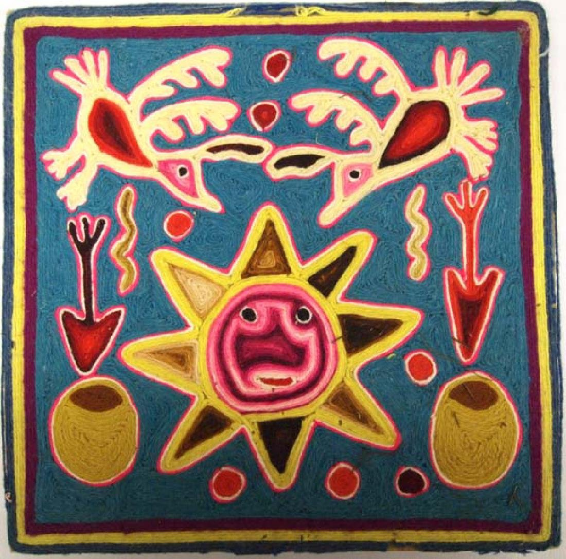 2 Mexican Huichol Yarn Art Pictures - 2