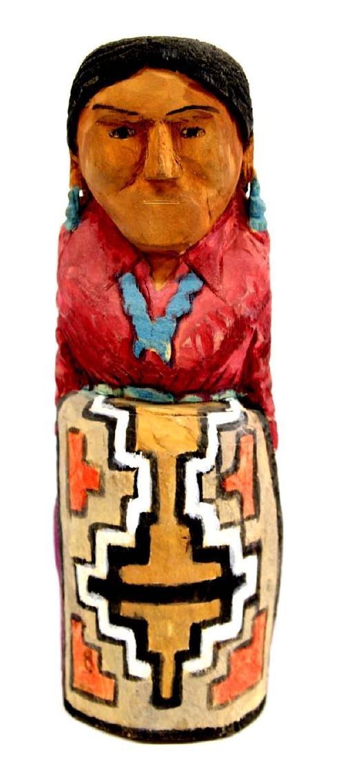 Navajo Carved Wood Folk Art Woman Figure