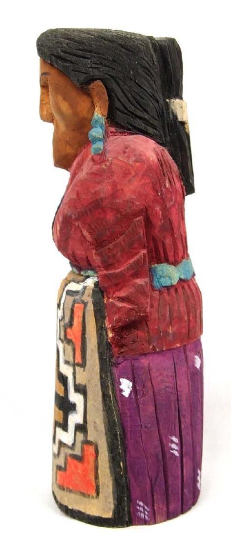 Navajo Carved Wood Folk Art Woman Figure - 2