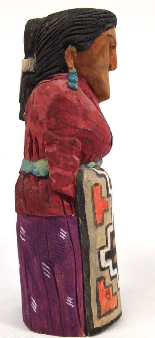 Navajo Carved Wood Folk Art Woman Figure - 4