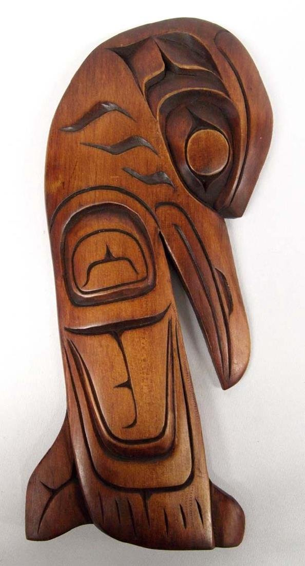 Northwest Coast Carved Cedar Raven Plaque