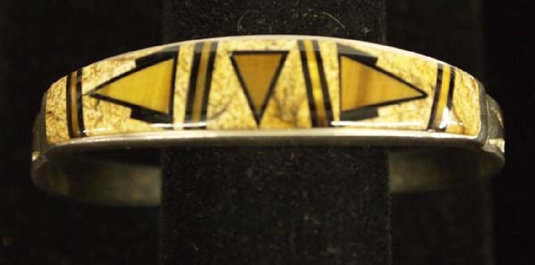 Navajo Sterling Petrified Bone Bracelet by C Begay
