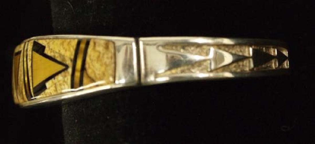 Navajo Sterling Petrified Bone Bracelet by C Begay - 2