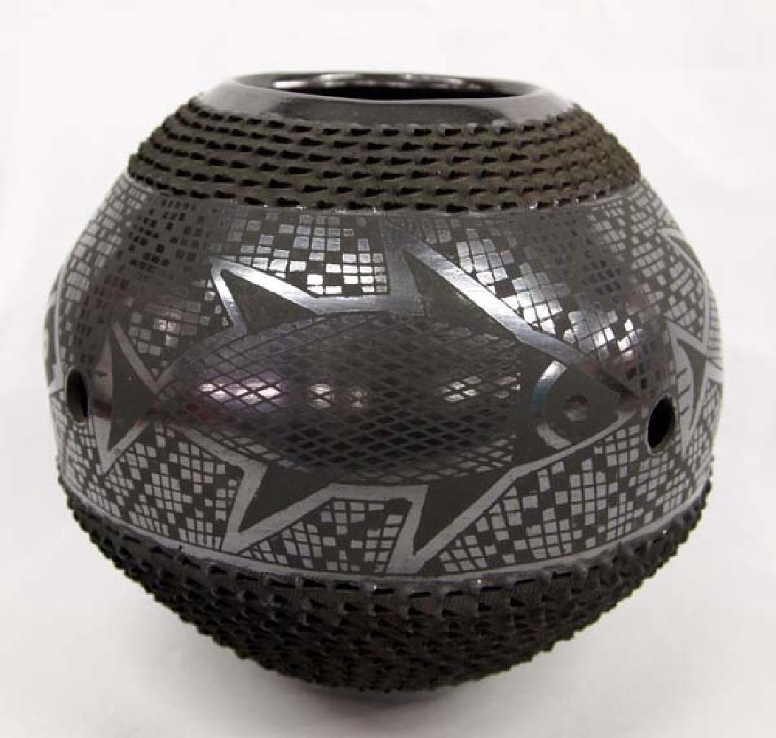 Mexican Mata Ortiz Black on Black Geometric Jar