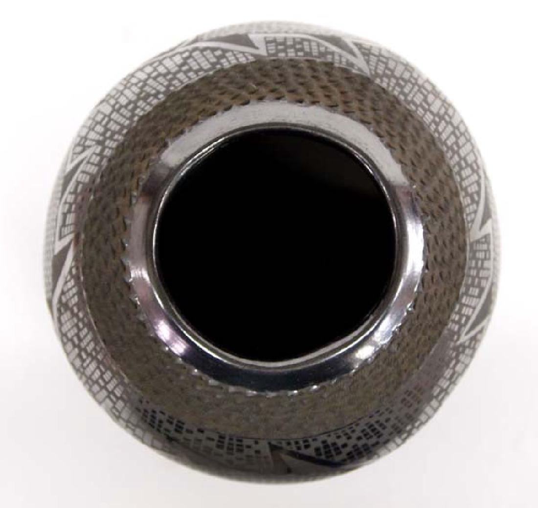 Mexican Mata Ortiz Black on Black Geometric Jar - 2