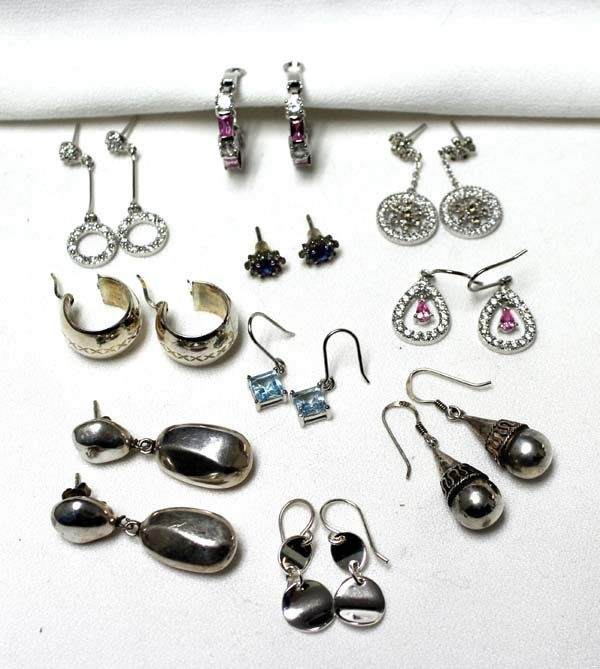 Collection of 10 Pairs of Sterling Silver Earrings
