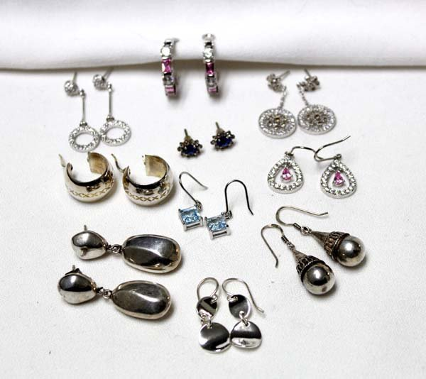 Collection of 10 Pairs of Sterling Silver Earrings - 2