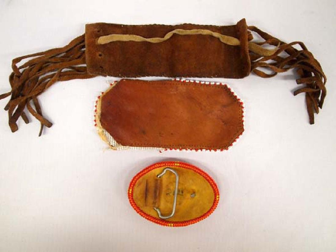 Navajo Beaded Pouch, Armband, and Buckle - 2
