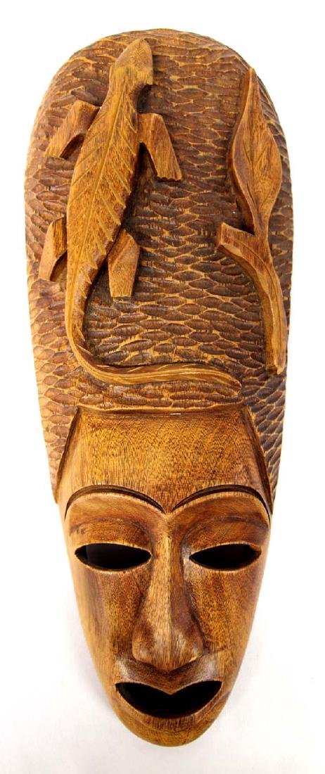 Carved Hawaiian Monkey Wood Mask by M. Paul