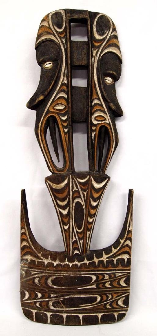 Papua New Guinea Carved Hand Painted Wood Wall Plaque