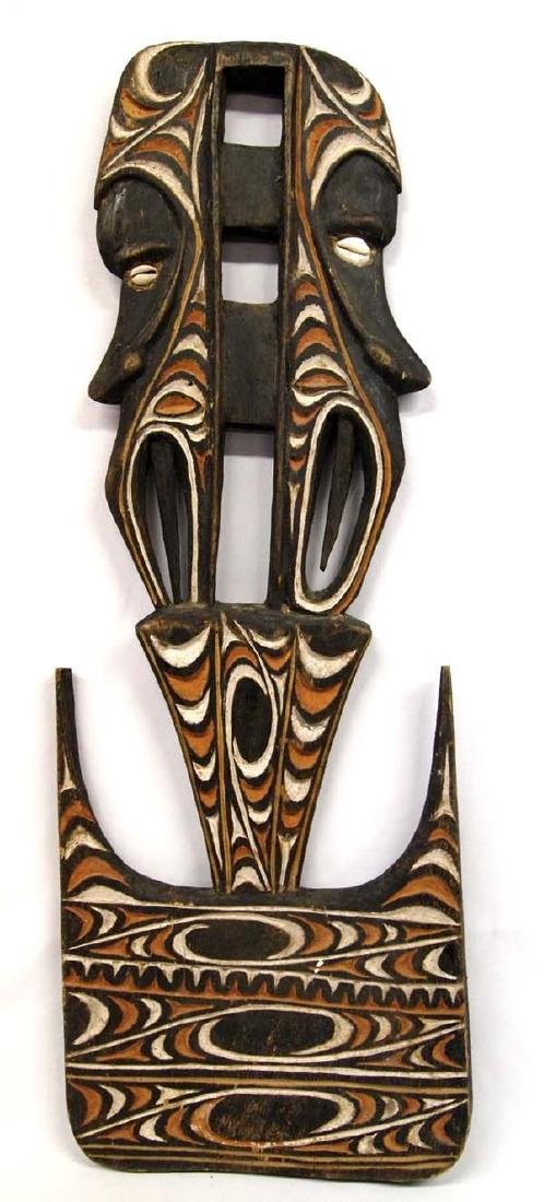Papua New Guinea Carved Hand Painted Wood Wall Plaque - 2