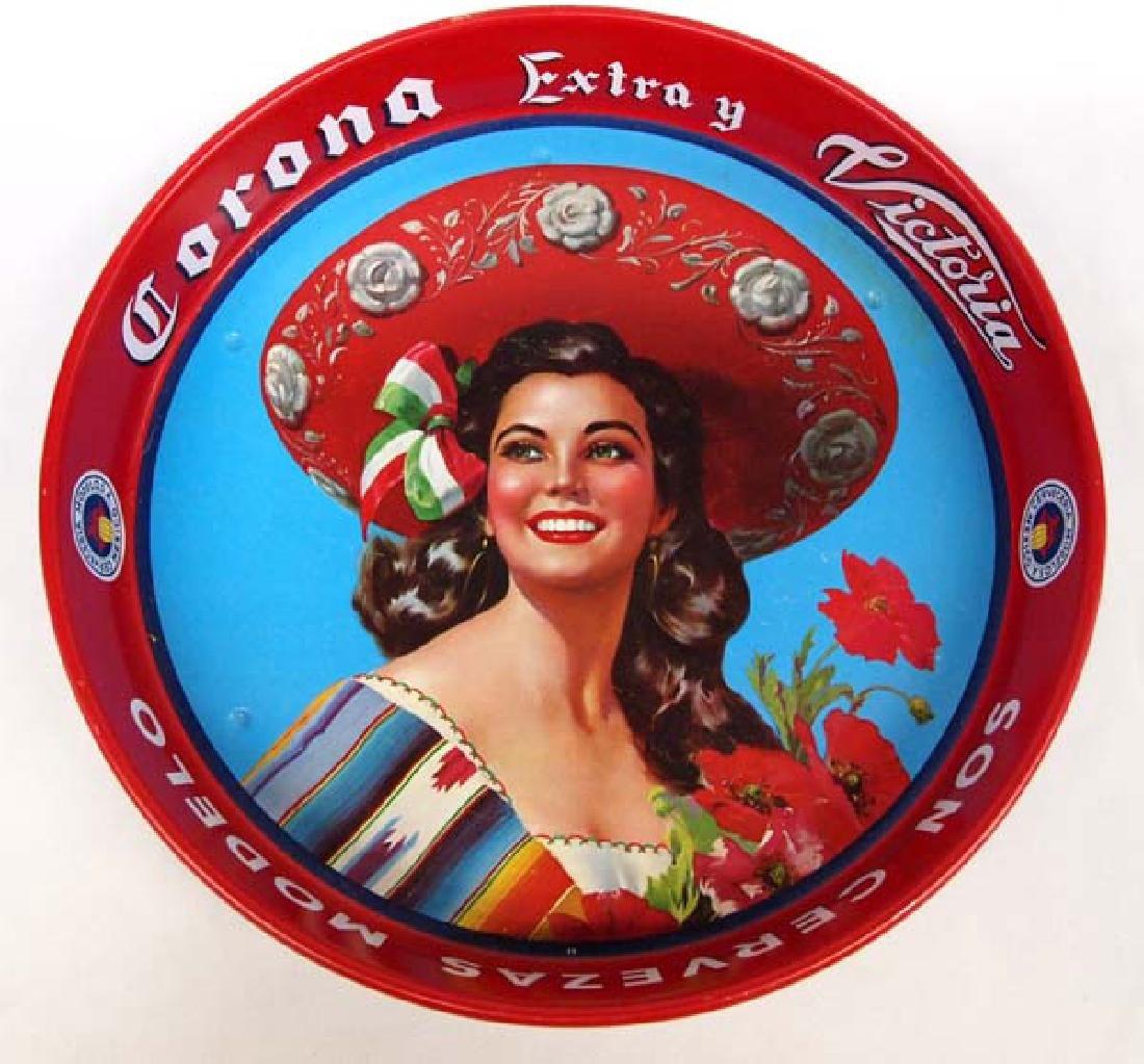 Original Mexican Corona Extra Metal Cerveza Tray
