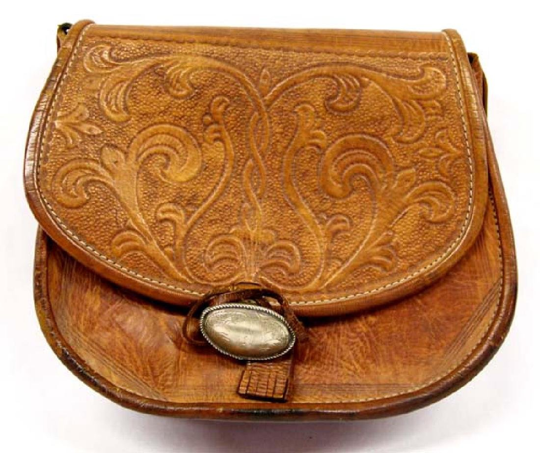 Tooled Leather Purse with Silver Buckle
